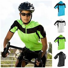 Womens Short Sleeve Cycling Jersey Top Full Zip Breathable Lightweight Size 8-16