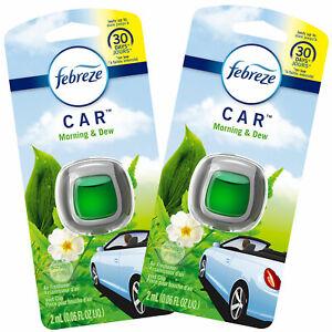 Febreze Car Vent Clips Air Freshener and Odor Eliminator, Morning & Dew (2 Pack)