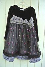 Bonnie Jean Girl's Dressy Dress Brown Velvet Sequins Size 5 New $70 Flower Girl