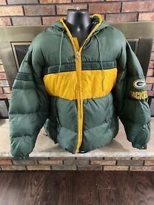 Vintage Green Bay Packers NFL Football Down Hooded Puffer Jacket Mens Size XXL