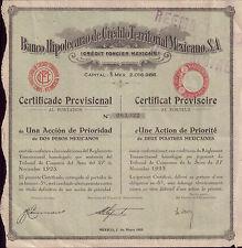 Mexico 1932 Bond Bank Banco Hipotecario Credito Territorial certificate 2 pesos