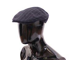 NWT $280 DOLCE & GABBANA Blue Striped Wool Logo Newsboy Cap Hat Cabbie s. 58 / M