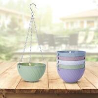 Hanging Flower Pot Chain Plastic Planter Basket Garden Flexible Home Decor Green