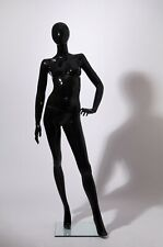 Female Mannequin + stand, Full body black glossy, egg head, hand made -4698-OH
