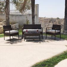 Durable 4PC Patio Furniture Set Cushioned Outdoor Wicker Rattan Garden Lawn Sofa