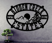 Mountain Scene Sign - Personalized Custom Metal  House Sign - Steel Sign  Cabin
