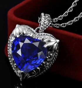 925 Sterling Silver 32mm HEART OF THE OCEAN Pendant Necklace [PEN-144]
