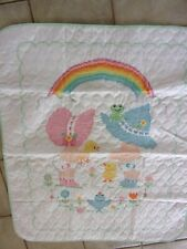 BABY QUILT RAINBOW AND KIDS CROSSSTITCH  40 by 35 in. NEW