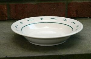 Longaberger Pottery Woven Tradition Heritage Green Rimmed Soup Salad Bowl
