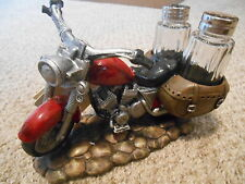 "Motorcycle Salt & Pepper Holder ""Spicy Rider""  Hand Crafted DWK Home Decor"