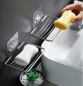 Stainless Steel Soap Dish Mounted Wall Holder Bathroom Shower Basket Storage Box