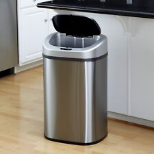 Nine Stars Motion Sensor Trash Can Touchless Automatic Lid Steel 21.1 Gallon