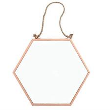 Crisp Copper - Small Rope Hanging Edged Hexagonal Geometric Mirror