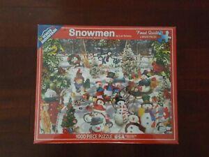Christmas Puzzle Jigsaw Snowmen-1000 Piece Brand  White Mountain Complete
