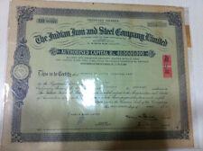 INDIAN IRON STEEL CO LTD CALCUTTA STOCK SHARE CERTIFICATE DESIGN BORDER 1967