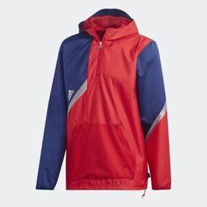 Adidas Tan windbreaker soccer futbol jacket navy Blue Red FS5043 $75 Size Large