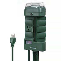 DEWENWILS Outdoor Power Strip Stake Timer Switch Weatherproof Outlet HOYS16M