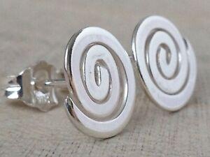 Sterling Silver Handmade Spiral Stud Earrings