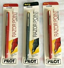 3 Vintage Razor Point Pilot 2 Red 1 Black Extra Fine Plastic Point Marker Pen