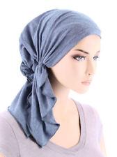 The Bella Scarf Pre-Tied Chemo Cancer Turban Cotton Knit Light Denim