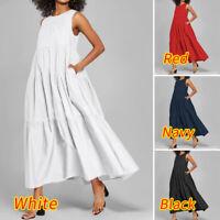 UK Women Strappy Sexy Sundress Oversized Long Dress Casual Holiday Plain Dresses