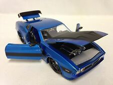 """1973 Ford Mustang Mach 1, Collectible, 8.25"""" Diecast 1:24 Scale, Jada Toys, Blue"""