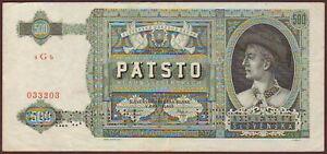 Slovakia  500 Korun  1941  SPECIMEN