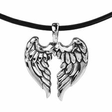 Guardian Angel Wings .925 Sterling Silver Rubber Necklace