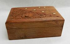 Sculpté à la main en laiton incrusté Palissandre Indien Boîte-doublé de velours rouge-Neuf