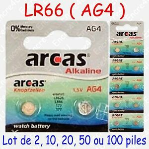 Pile Bouton LR Alcaline 1,5V : AG4 LR66 LR626 377 ( par 2, 10, 20, 50 ou 100 )