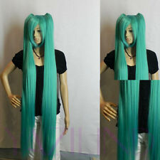 Vocaloid Hatsune Miku super long straight blue ponytail pig tail cosplay wig