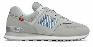 New Balance Men's 574 Shoes Grey with Blue