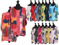 Ladies Italian Brush Stroke Print Crochet Tunic Top Womens Lagenlook Shirt Top