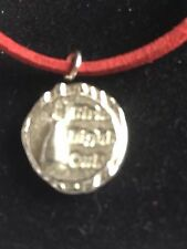"""Girls Night Out Disc TG217 Fine English Pewter On 18"""" Red Cord Necklace"""
