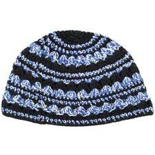 Freak Frik Kippah Yarmulke Thick Knit Crochet Black Blue Striped Israel 21 cm