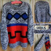 Vintage Stella Sweater 80s Geometric 1980s L Made In Korea