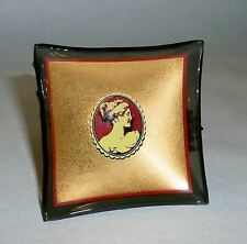 """6 Rare Vintage 2"""" square Butter Pats with Cameos on Gold & Black Glass"""