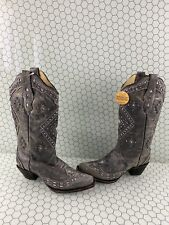Corral Brandy Gray Leather Glitter Inlay Snip Toe Western Boots Womens Size 8.5M