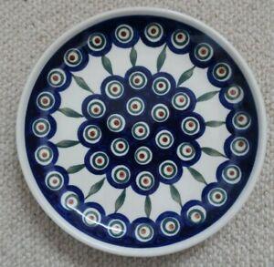 BOLESLAWIEC Poland hand painted polish table ware 20cm BOWL Blue Peacock design