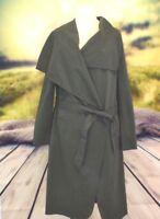 Womens Ladies Belted Waterfall Duster Blazer Coat Jacket Mac Large Lapel Collar