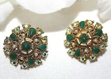GORGEOUS SIGNED FLORENZA CLIP ON EARRINGS EXCELLENT AND BREATHTAKING-WOW....