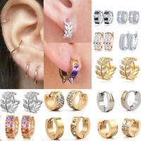 Pair Men Women Stainless Steel Rhinestone Crystal Ear Huggie Hoop Studs Earrings