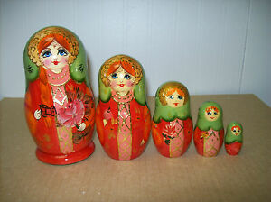 Orange, Red, Gold, and Green Nesting doll - 5 Doll Russian Nesting Doll