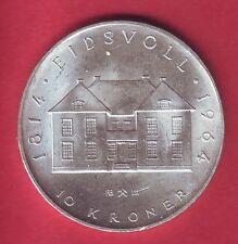 R* NORWAY 10 KRONER SILVER 1964 CONSTITUTION UNC DETAILS