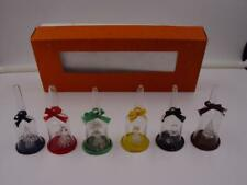 """6 VINTAGE UNIQUE HAND BLOWN SPUN GLASS IN 3.5"""" BELLS 60s-70s ORNAMENTS DISPLAY"""