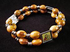Handmade Bethlehem Palestine Olive Wood Bead Double Strand Bracelet Saints Icons