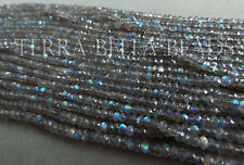 "12.5"" AAA LABRADORITE faceted gem stone rondelle beads 4mm blue green gold"