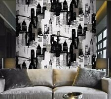 New York City Mural Vinyl Black Silver Metallic Wallpaper
