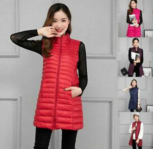 Women Packable Light Weight Waistcoat Down Puffer Sleeveless Jacket Long Vest