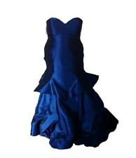 Sapphire Blue Sleeveless Ruffled Mermaid Prom Dress - Size 18 (Used)
